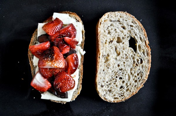 roasted strawberry brie chocolate grilled cheese