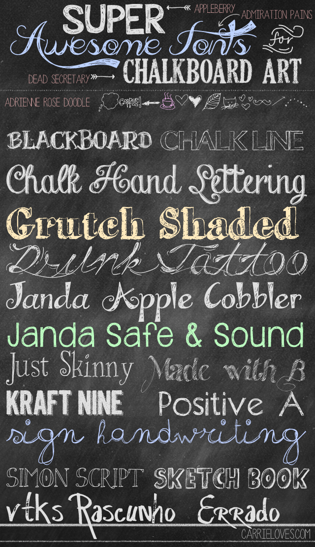 Fabulous Font Friday Chalkboard Carrie Loves