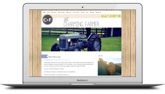 the charming farmer screen blog design
