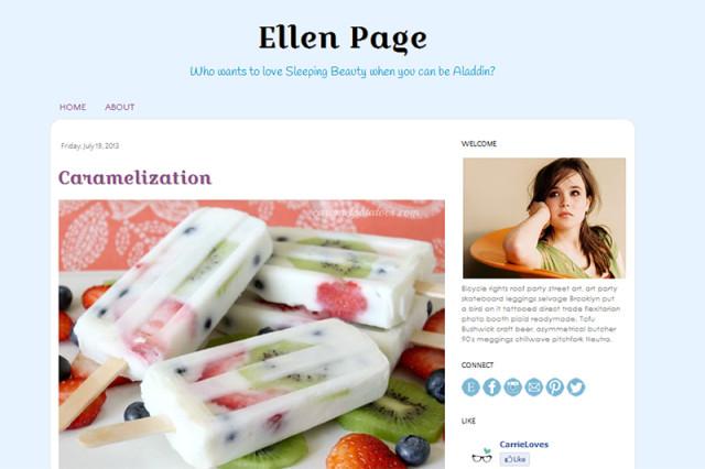 ellen page premade blogger template