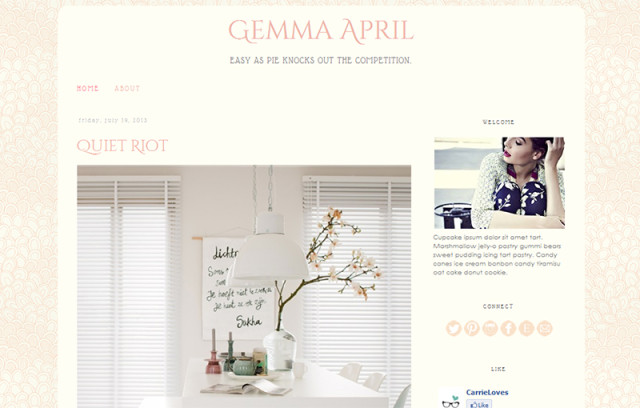 gemma april premade blogger template