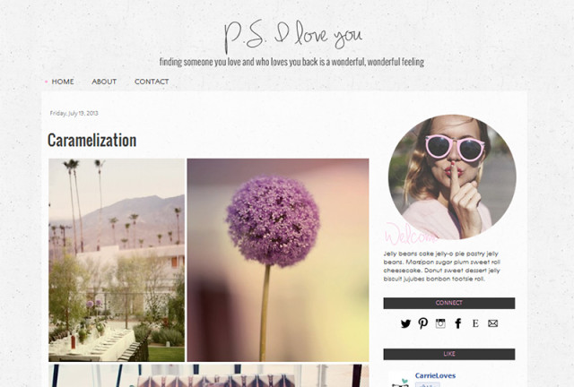 p.s. i love you premade blogger template