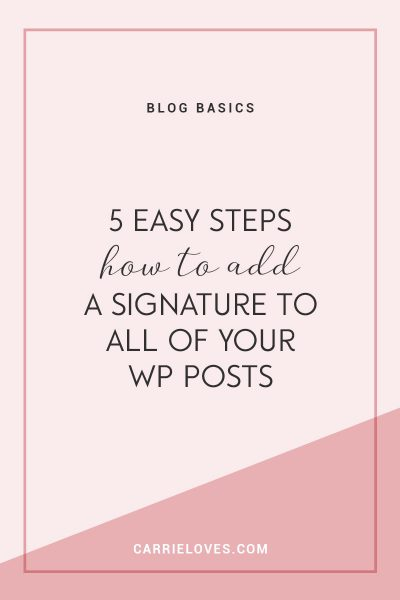 How to automatically add a signature to your WordPress posts