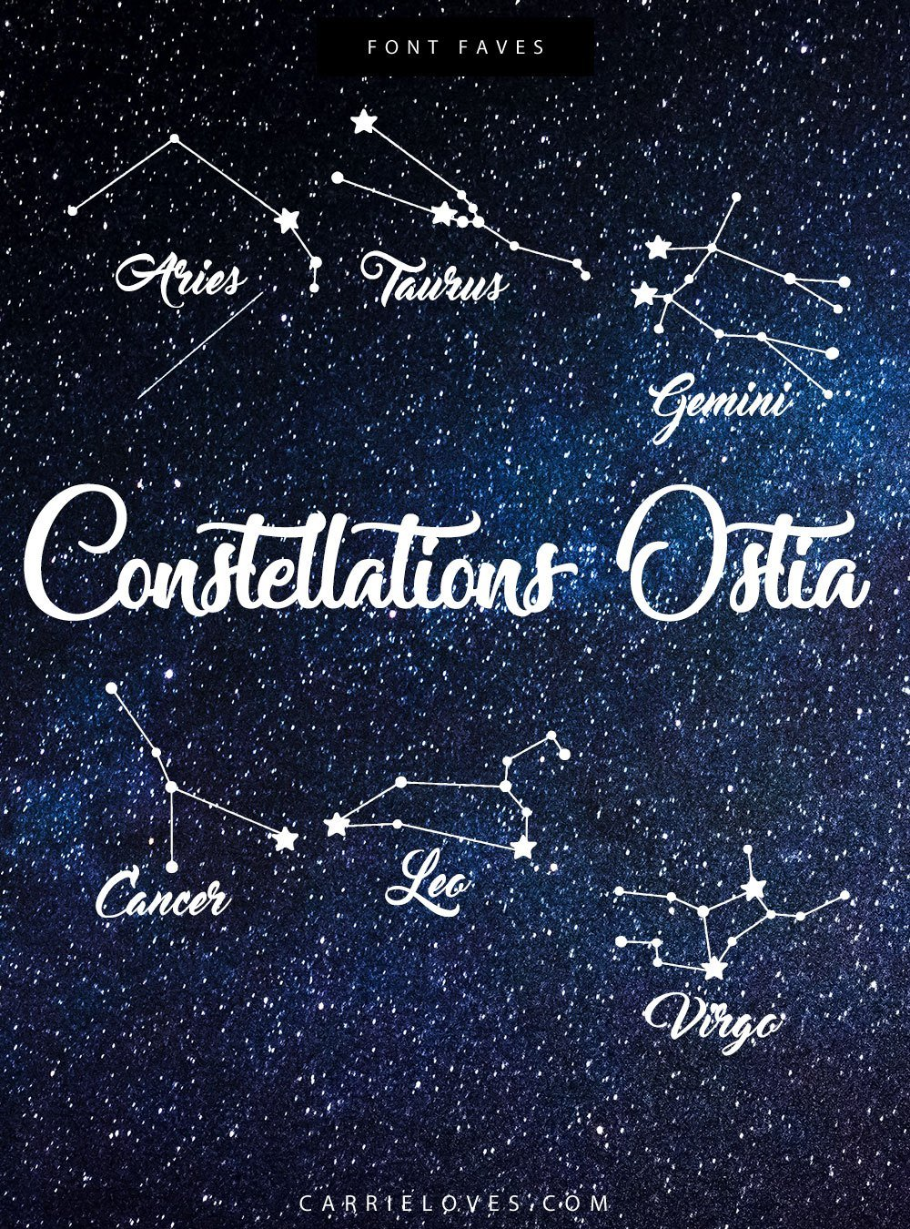 Font Faves Constellations Dingbats - Carrie Loves Blog