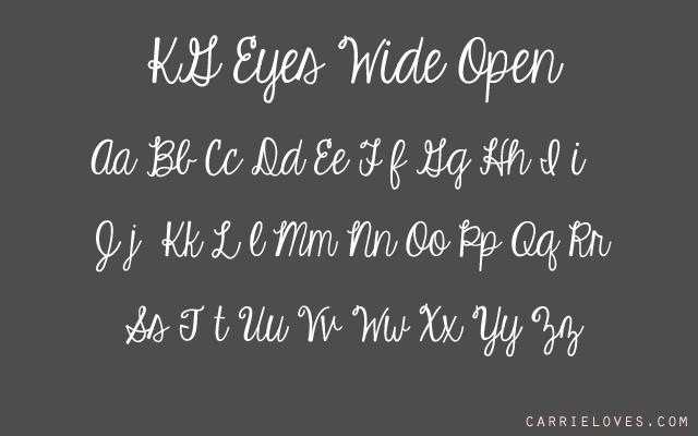 kg eyes wide open font