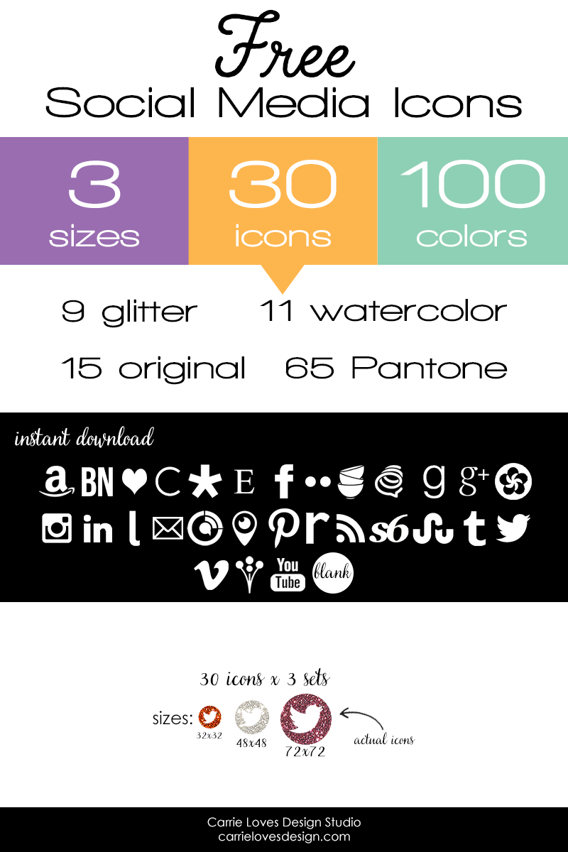 Free Social Media Icons from Carrie Loves | carrieloves.com